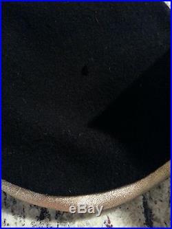 Vtg 50's Frank Olive Neiman Marcus Black Gold Leather Metallic Wool Beret Hat