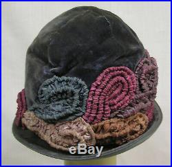 Vtg Antique 1920s Cloche Hat GAGE Labeled Velvet Pink Blue Ruched Fabric NICE