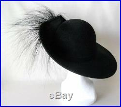 Vtg Black Feather Jack McConnel Velvet Hat Nwot Mint Avant Garde Kentucky Derby