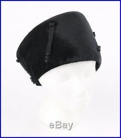 Vtg COUTURE Victorian Edwardian Black Silk Felted Velvet Toque Evening Hat Cap