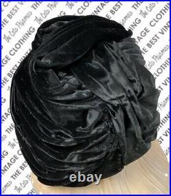 Vtg Christian Dior Black Silk Velvet Turban Hat 1950s M/L