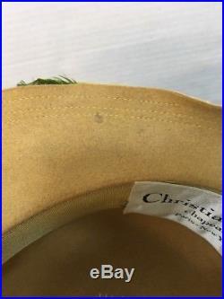 Vtg Christian Dior Chapeaux Paris New York Hat Feathers Velvet Ribbons