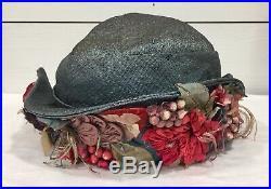 Vtg EDWARDIAN HAT ART DECO Silk Flowers Leaves Berries Wide Brim Trim Cloche