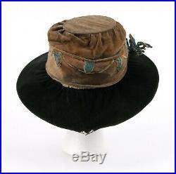 Vtg EDWARDIAN c. 1910's Black Tan Brown Silk Velvet Chenille Floral Afternoon Hat
