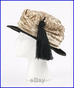 Vtg EDWARDIAN c. 1910s Beige Soutache Embroidered Silk Satin & Velvet Evening Hat