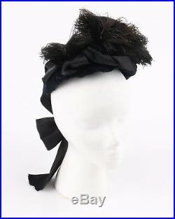 Vtg Early 1800's Civil War Victorian Silk Velvet Bow Feather Mourning Hat Bonnet