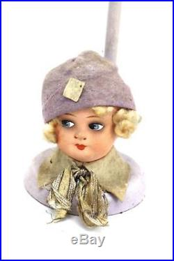 Vtg Flapper 1920S Hat Stand Germany Composition Head Lavender 9.5-In Cloche