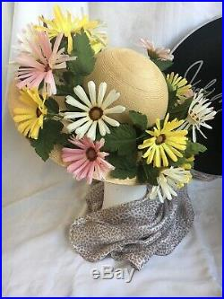Vtg Jack McConnell Woven Hat Gerber Daisy Wide Brim Red Feather Original Hat Box