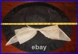 Vtg Ladies 1930s/40s Wide Woven Brim Black Cartwheel Pancake & Cream Bow Hat