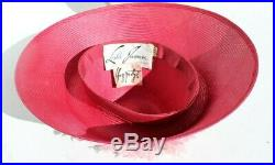 Vtg MCM 1960s Pink Saucer Straw Hat with Pink Flowers Leslie James Haggarty's