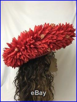 Vtg McConnell Hat Women's Kentucky Derby Church Bling Dressy Flowers Sm Medium