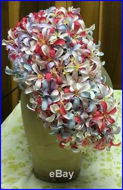 Vtg Mod By Jack Mcconnell Ladies Hat Loaded Flowers Amazing