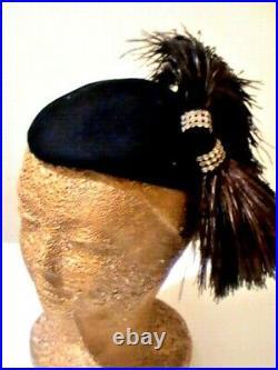 Vtg New York Art Deco 1940s Cocktail Fascinator Hat Ostrich Feathers Rhinestone