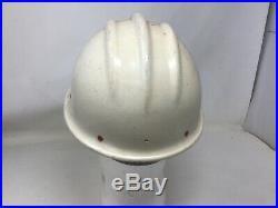Vtg ORIGINAL WHITE BULLARD 502 FIBERGLASS Hard Boiled HARD HAT WOMAN IRONWORKER