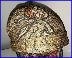 Vtg Orig 20s Flapper Art Deco Helmet Cloche Hat Milan Straw Soutache Embroidery