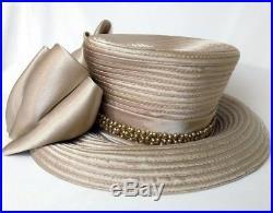 Vtg Style Women's Hat Bling Church Dressy Kentucky Derby Bow Medium Lg Champagne