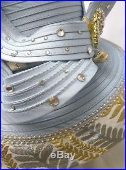 Vtg Style Womens Hat Church BLING Kentucky Derby Bow Rhinestone Sky Ice Blu Gold
