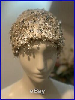 Vtg VGC True 1960s Christian Dior Ivory Brocade Emerald Crystal Tear Turban Hat