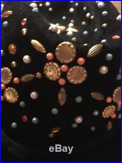 Vtg Yves Saint Laurent Jeweled Fedora Trilby Hat Black Felt Wool 1960s