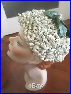WONDERFUL VINTAGE FLORAL LILLY OF THE VALLEY 1950s HAT