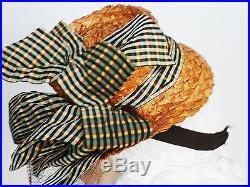 WWII Hat Vtg 40 Veil Tilt Top Straw Derby Taffeta Ribbons New York Creations