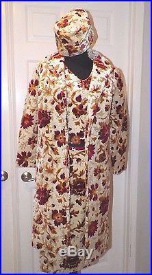 Women's Vintage 4 Pc Carpet Bag Tapestry Skirt Top Coat & Hat Small