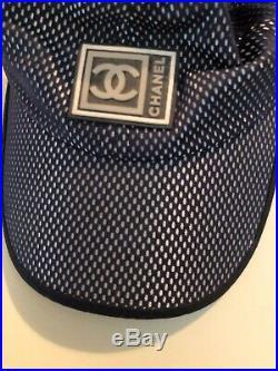Women's Vintage Chanel Sports Line Hat, Size M, Blue Mesh
