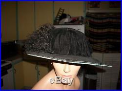 Women's Vintage Edwardian Titanic Huge Brim Black Velvet Hat Ostrich Plumes M L