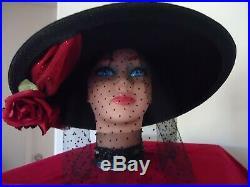 Women's Vintage Wide Brim Black Straw Hat