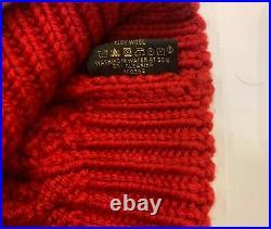 Womens Louis Vuitton Wool Beanie Hat LV logo Red