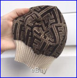 Womens Vintage 80s 90s Fendi Hat F Monogram All Over Print Beige Brown Beret Cap