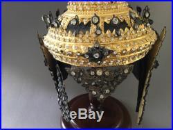 Wow Vintage Tahi Headdress Gilt Wood Leather Jeweled Silver Hat