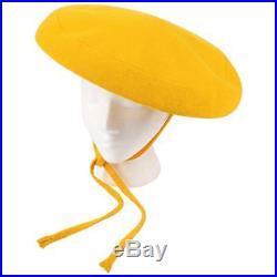 YVES SAINT LAURENT c. 1960's YSL Mod Yellow Wool Saucer Tam Hat