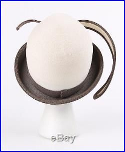 YVES SAINT LAURENT c. 1960's YSL Off White Taupe Straw Sculptural Leaf Cloche Hat
