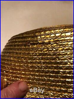 Yves St Laurent Rive Gauche Metallic Gold Weave Hat